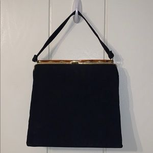 Vtg Dover black cloth satchel snap top purse